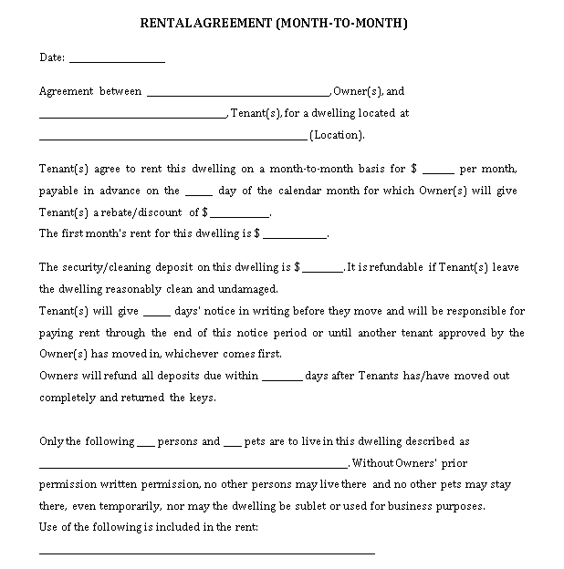 Month to Month Rental Agreements