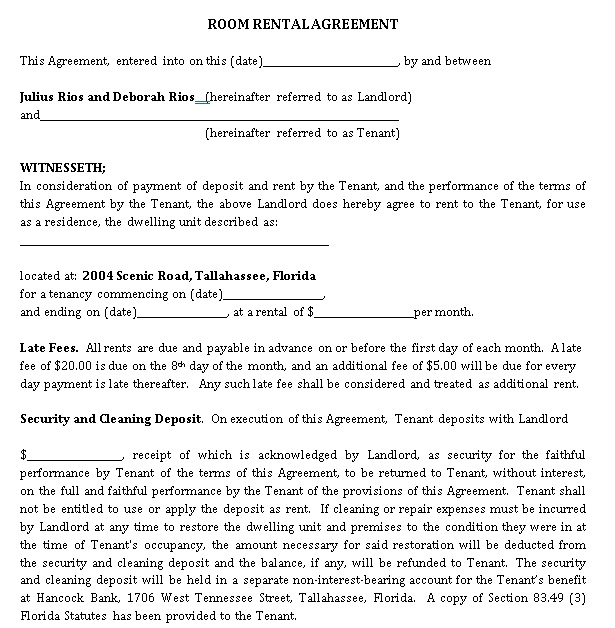 Month to Month Room Rent Agreement