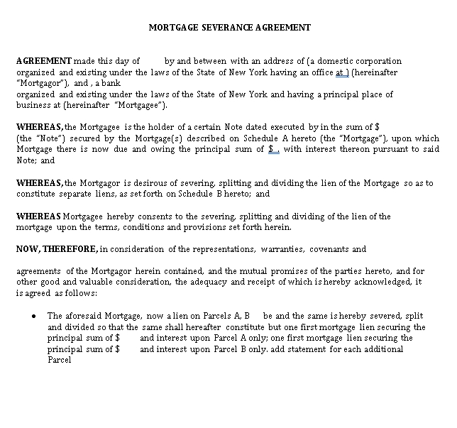 Mortgage Severance Agreement