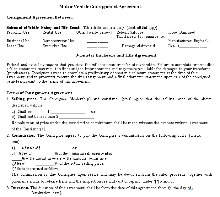Motor Vehicle Consignment Agreement