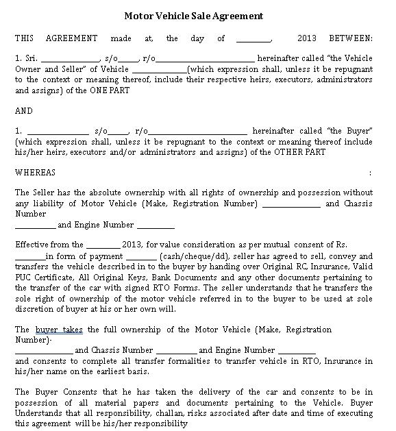 Motor Vehicle Sale Agreement