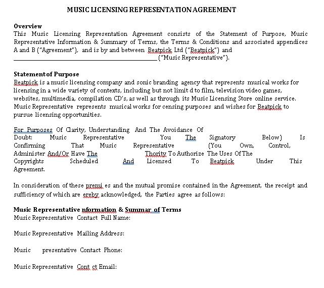 Music Licensing Representation Agreement