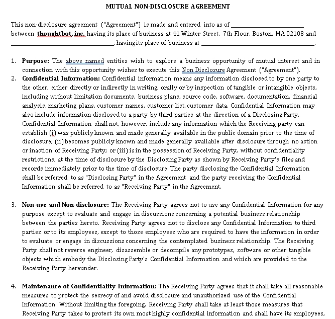 Mutual Non Disclosure Agreement Form 1