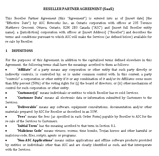Mutual Reseller Agreement Template