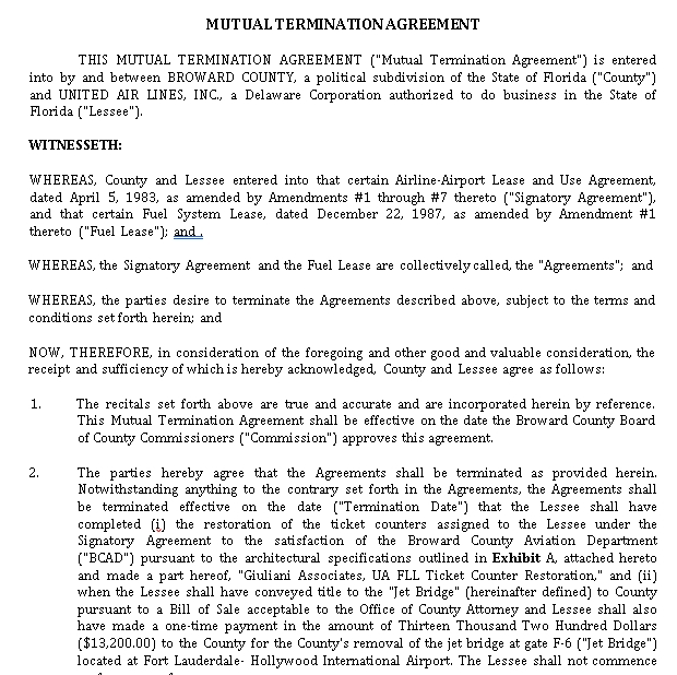 Mutual Termination Agreement Template