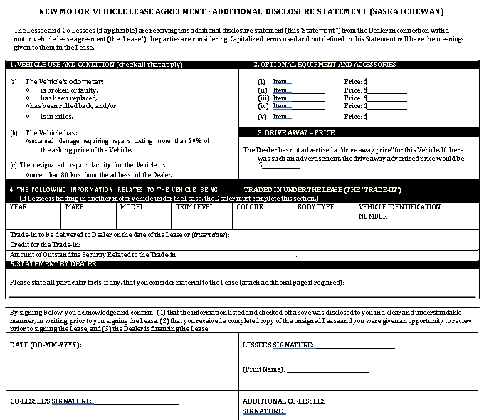 New Motor Vehicle Lease Agreement Template