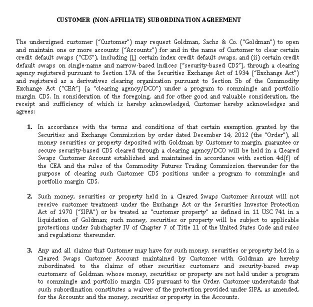 Non Affiliate Subordination Agreement