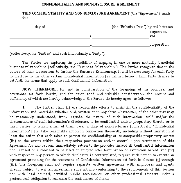 Non Disclosure Confidentiality Agreement