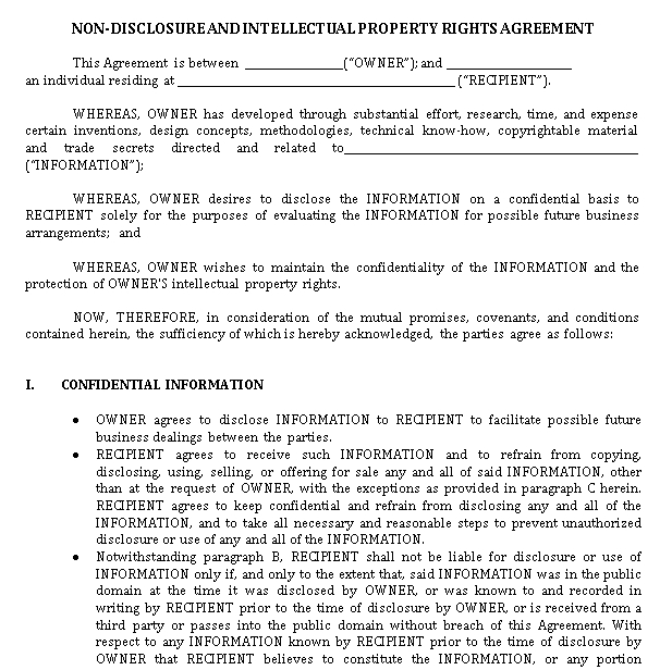 Non Disclosure and Intellectual Property Rights Agreement