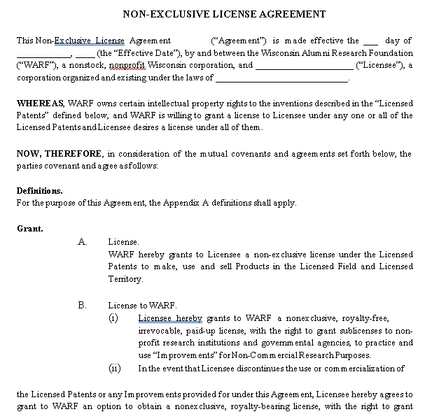 Non Exclusive Agreement Format in PDF