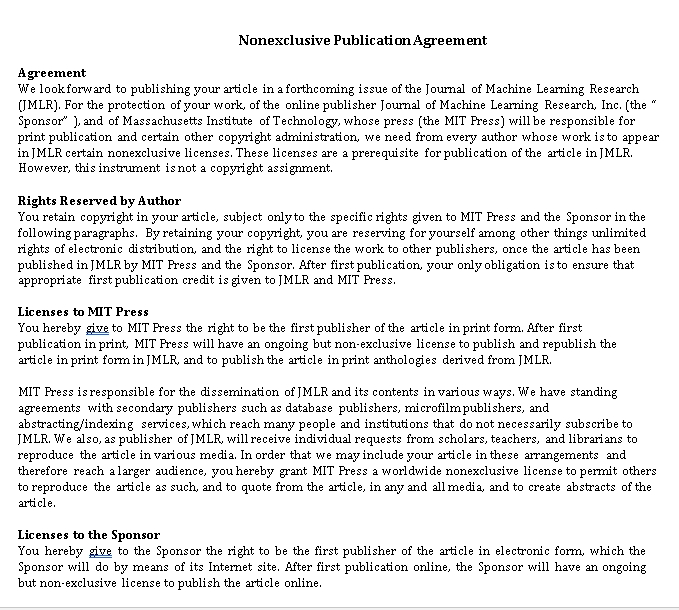 Non Exclusive Publication Agreement in PDF