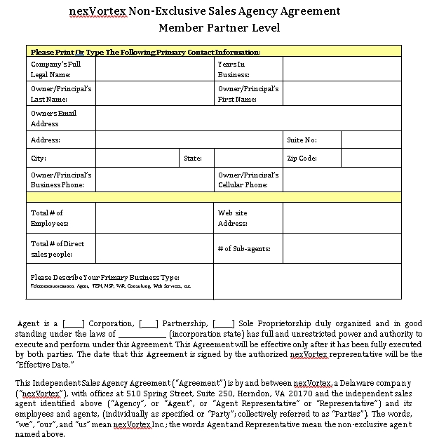 Non Exclusive Sales Agency Agreement