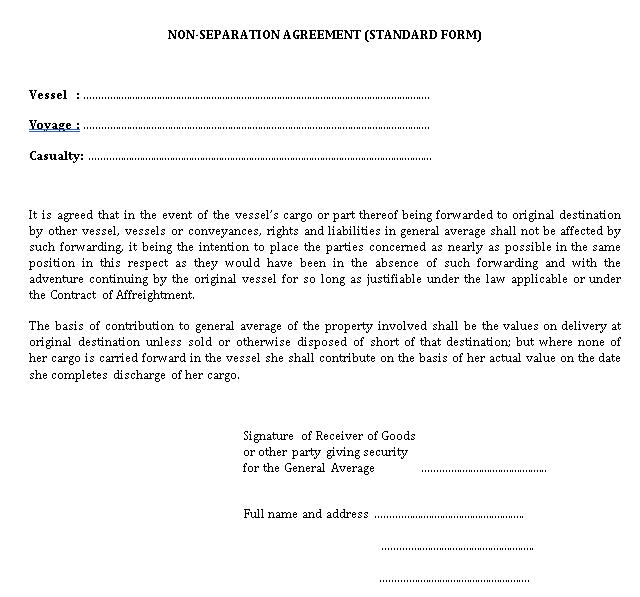 Non Separation Agreement in PDF