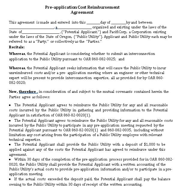 OGI Pre Application Agreement