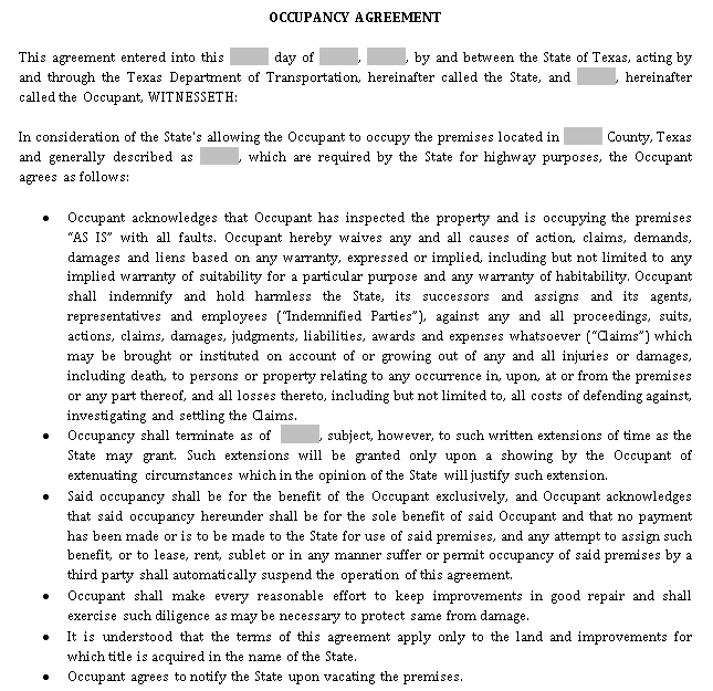 Occupancy Agreement Template