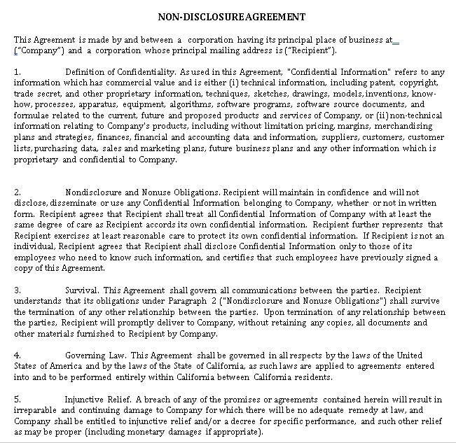 One way Non Disclosure Agreement Form