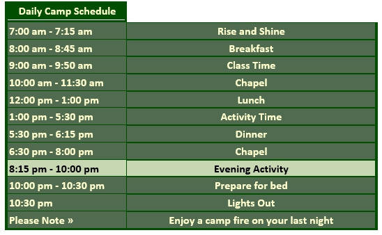 Outing Daily Camp Schedule Word Doc