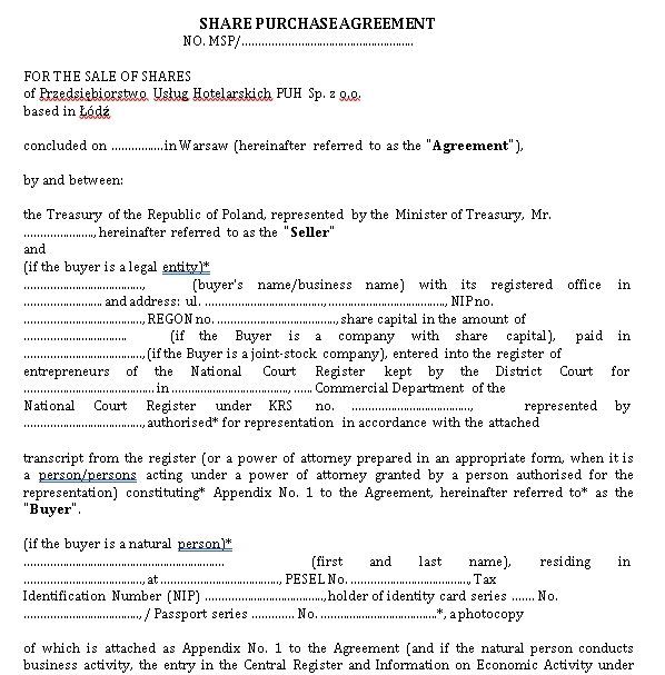 PUH agreement