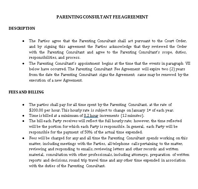 Parenting Consultant Agreement