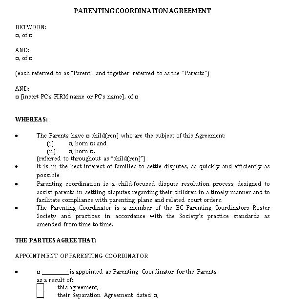 Parenting Coordinator Agreement