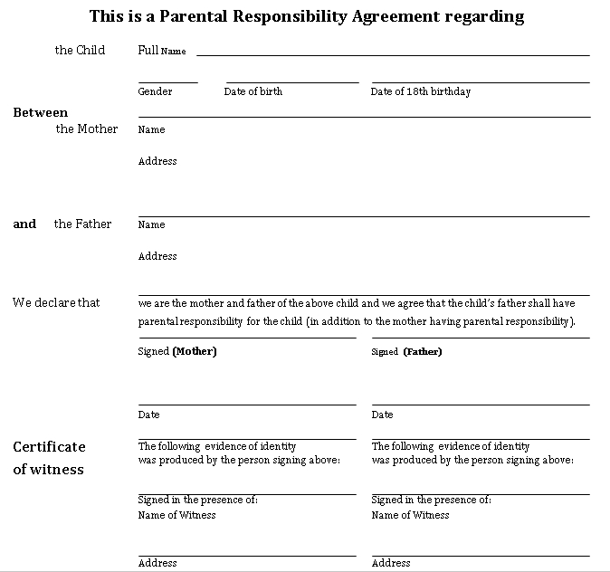 Parenting Responsibility Agreement