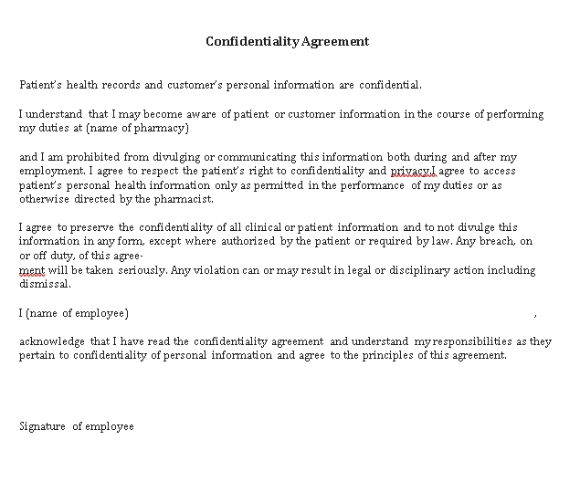 Patient Confidentiality Agreement 1