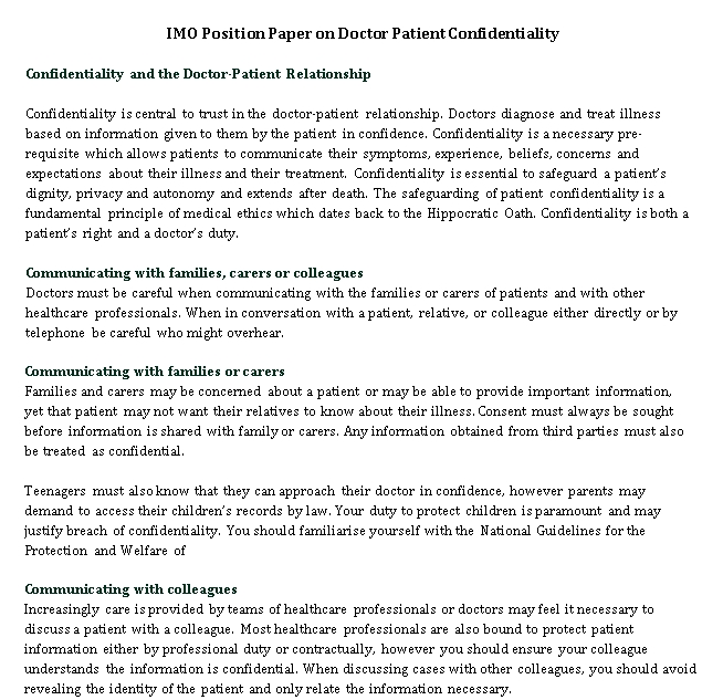 Patient Confidentiality Agreement for Mental Health Professional