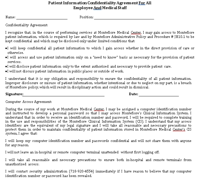 Patient Information Confidentiality Agreement