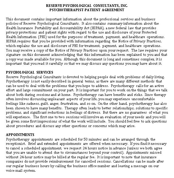 Patient Psychotherapist Confidentiality Agreement