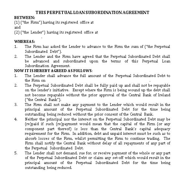 Perpetual Loan Subordination Agreement