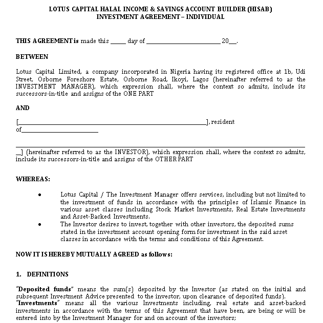 Personal Income and Savings Account Investment Agreement Template