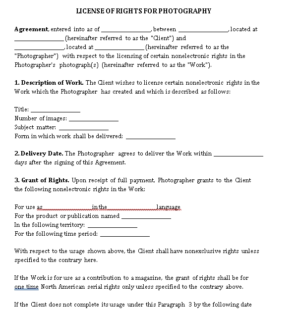 Photography License Agreement Template 2