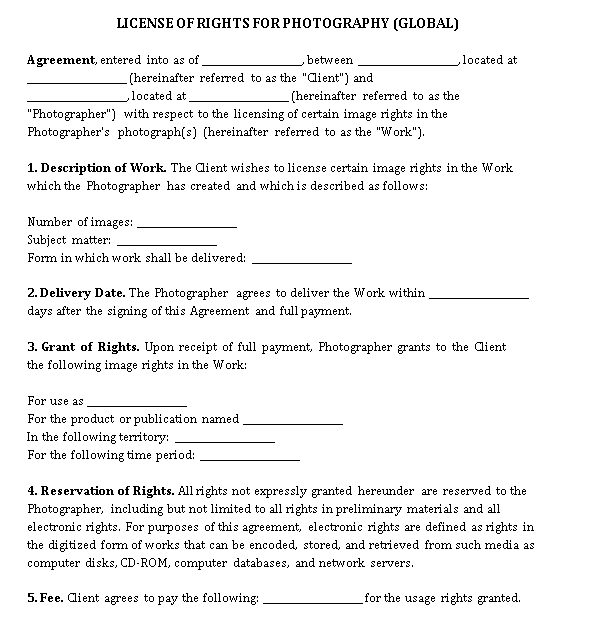 Photography License Agreement Template 3