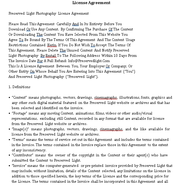 Photography License Agreement Template 4