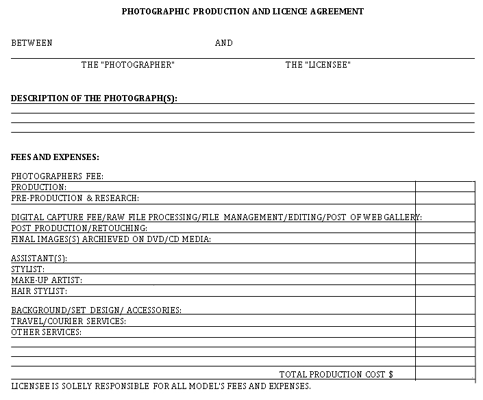 Photography License Agreement Template 5