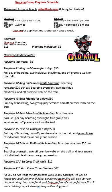 Playtime Schedule