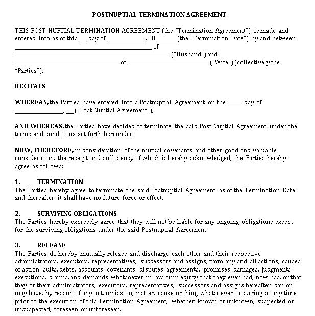 Postnuptial Termination Agreement