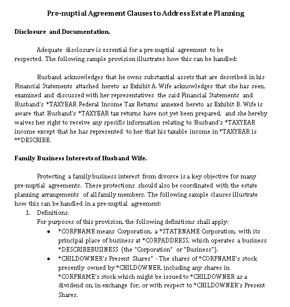 Pre Nuptial Agreement Clauses to Estate Planning