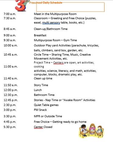 Preschool Daily Schedule