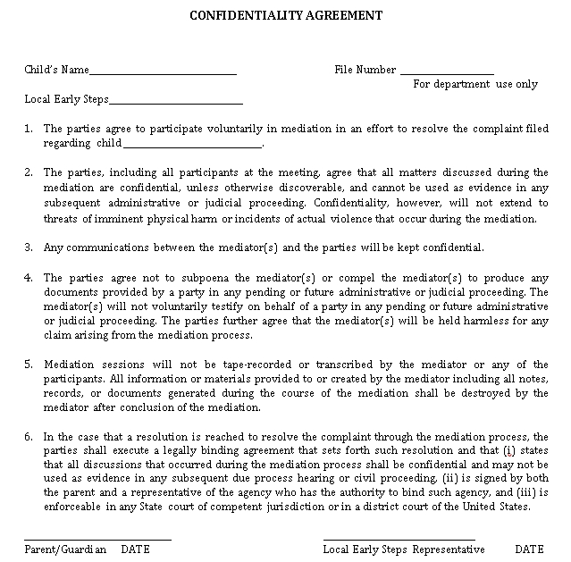 Printable Meeting Confidentiality Agreement