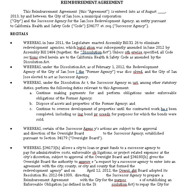 Printable Reimbursement Agreement Example