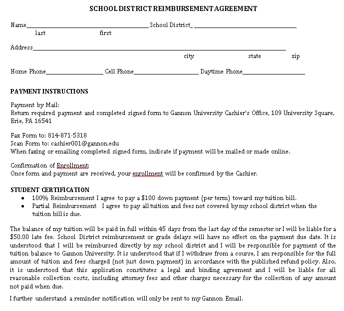 Printable Reimbursement Agreement Template