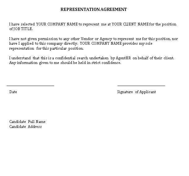 Printable Representation Agreement