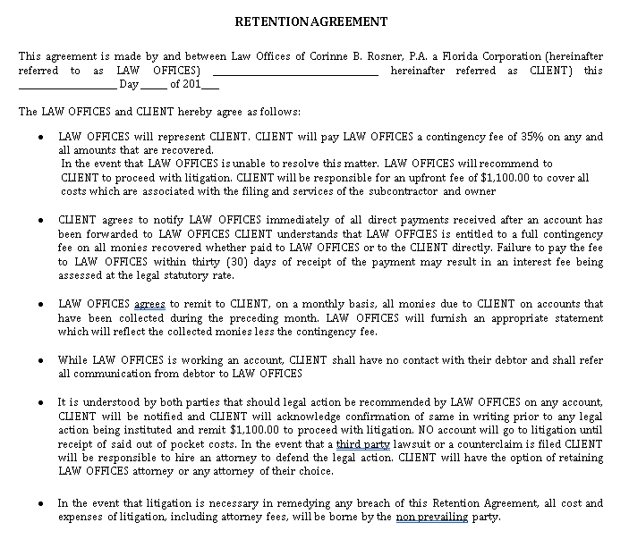 Printable Retention Agreement