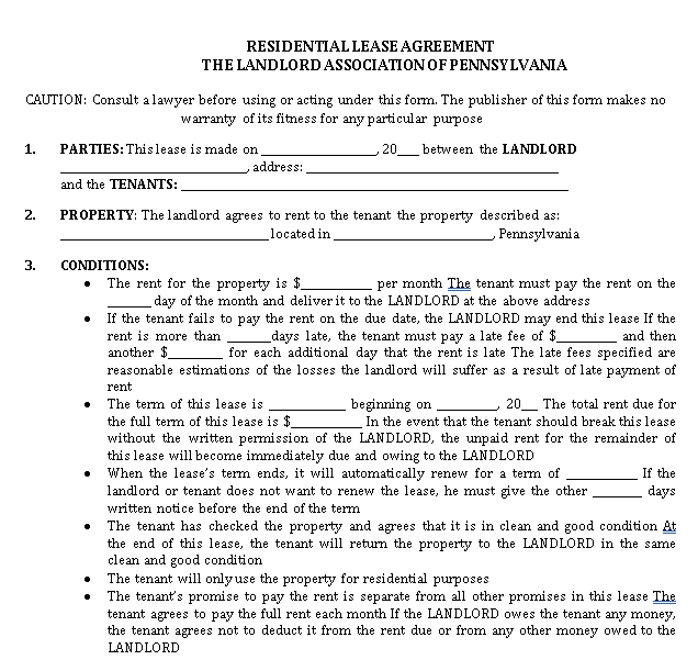 Printable Tenant Lease Agreement