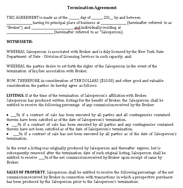 Printable Termination Agreement