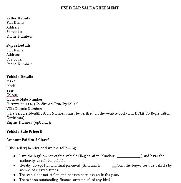 Printable Vehicle Sale Agreement