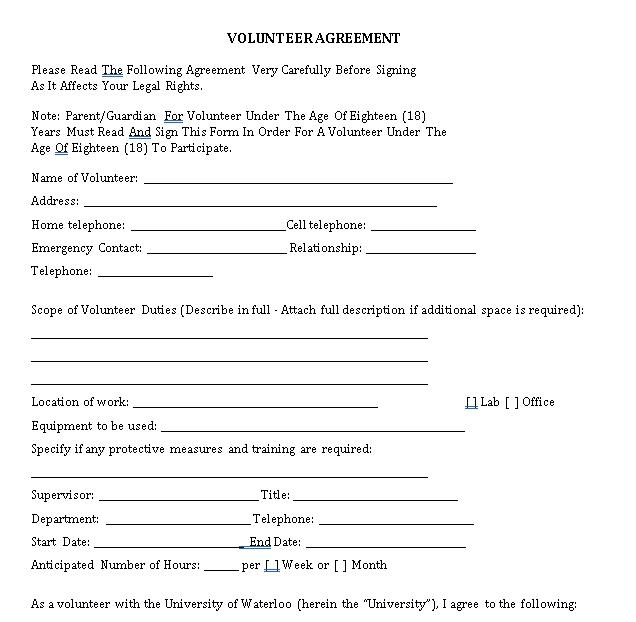 Printable Volunteer Agreement