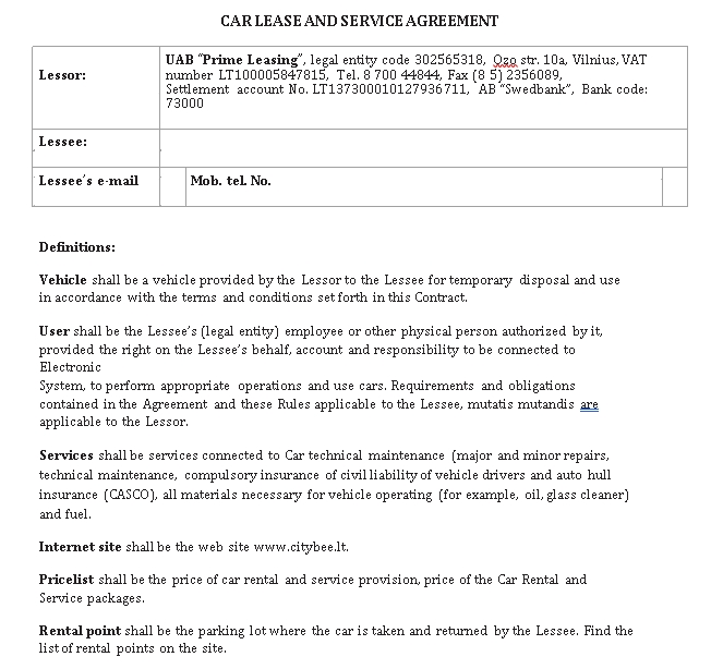 Private Car Lease Agreement Template 1