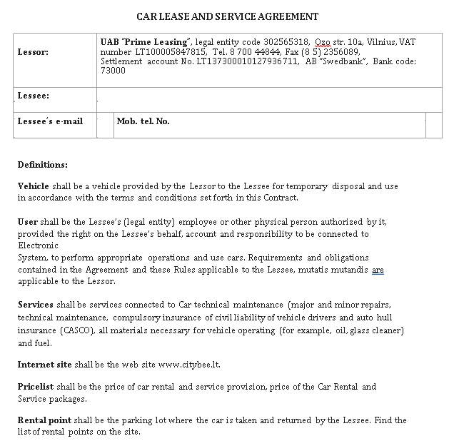 Private Car Lease Agreement Template